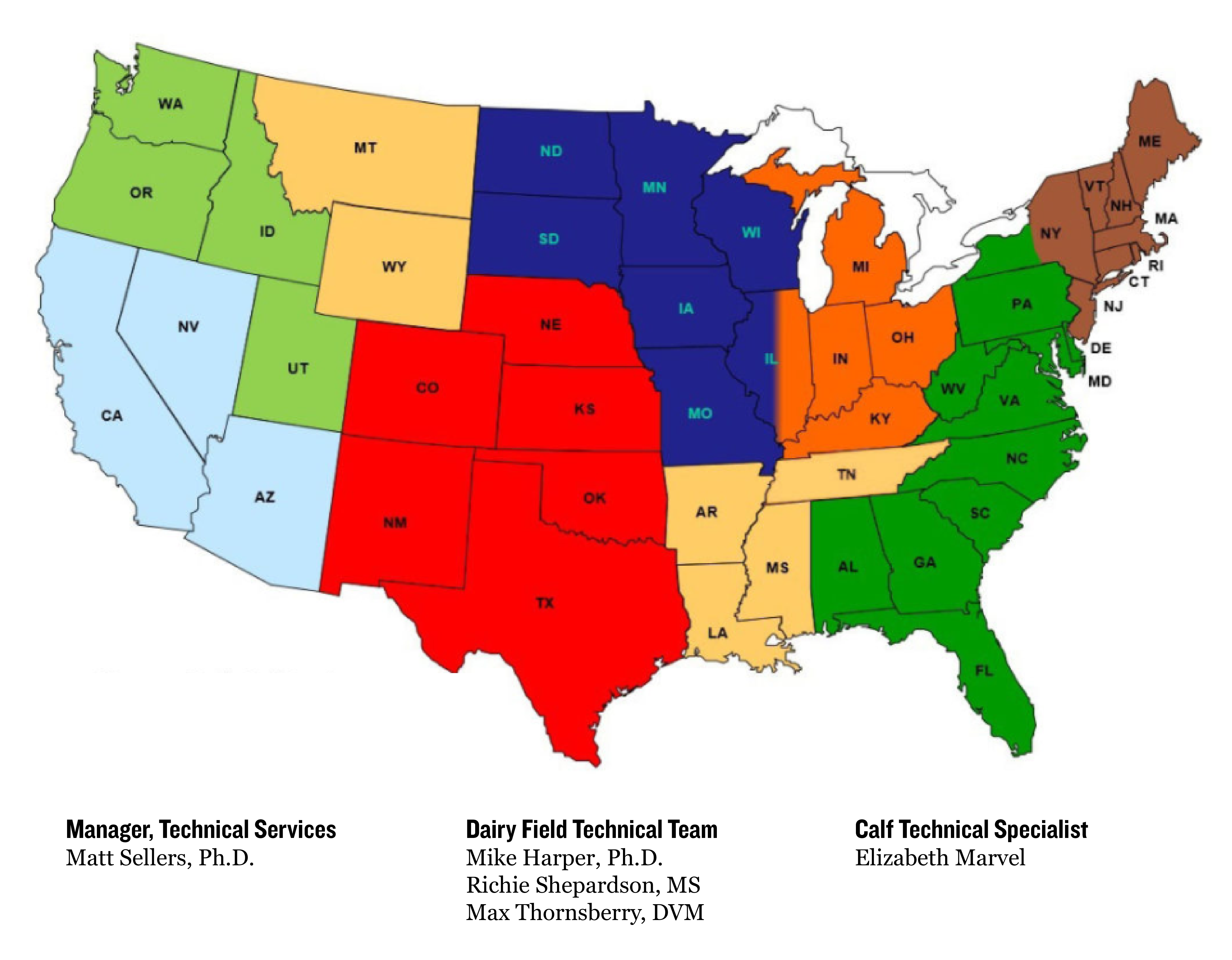 US map with national account manager sales territories